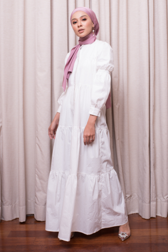 Asly Gathers Dress - White
