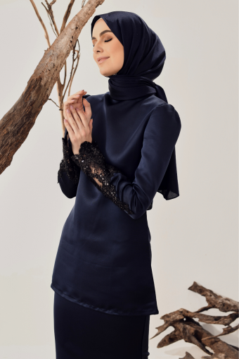 Saleha Lace Kurung in Navy Blue