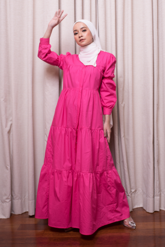 Asly Gathers Dress - Pink