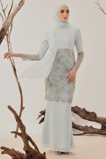 Maya Drape Kurung in Mint Green