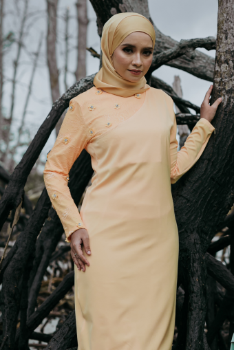 Intan Lace Kurung - Orange Yogurt