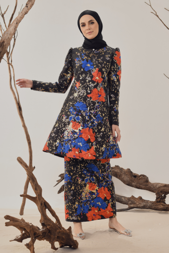 Sarah Brocade Kurung in Black