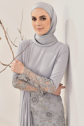 Maya Drape Kurung in Grey